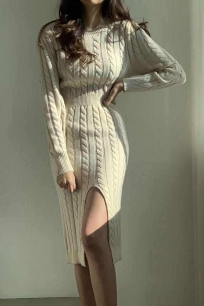 Winter Women'S Dress 2021 Bodycon Sweater Women Dress Long Sleeve  Knitted Dresses Maxi Vintage Oversize Dresses Knitting Fall
