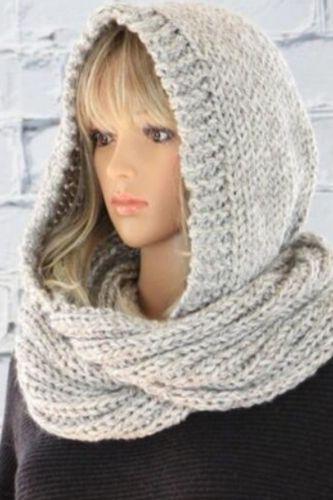 Women Winter Crochet Knit Hood Infinity Scarf Outdoor Windproof Warm Long Shawl Wrap Solid Color Earflap Hat Neck Warmer