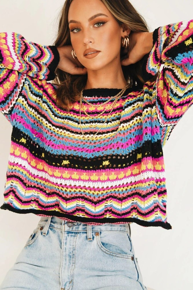Rainbow Cropped Sweater Fall 2021 Women Clothes Halloween Pullover Hollow Out Patchwork O-Neck Striped Sweaters Dropshipping