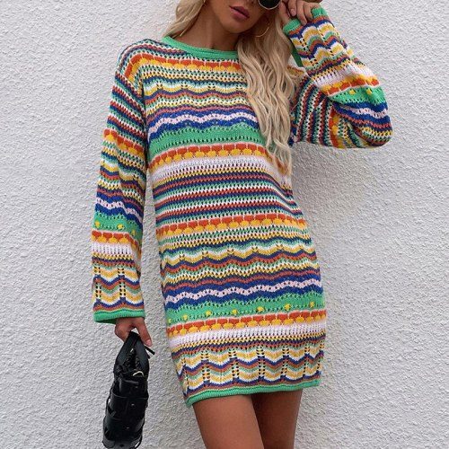 Vintage Colorful Crochet Mini Dress Women 2021 Casual Long Sleeve Hollow Out Holiday Beach Fashion Short Dresses Vestidos winter