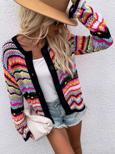 2021 Autumn Elegant Rainbow Colored Long Sleeve Knit Cardigan Women Hollow Out Oversized Sweater Female Fashion Outerwear