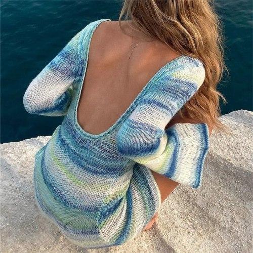 Sexy Backless Flare Sleeve Striped Women Sweater Dress Blue Long Sleeve O-neck Dress Women Autumn Casual Streetwear 2021