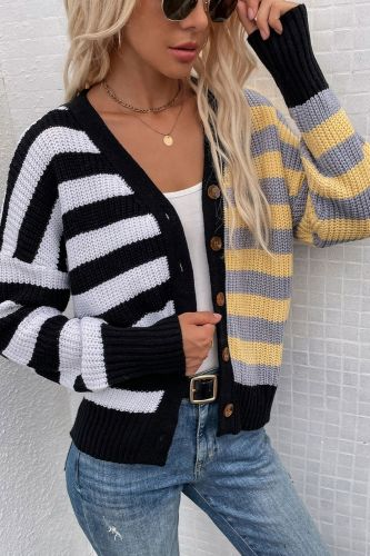 V-Neck Long Sleeve Patchwork Stripe Knitted Cardigan Women Fashion Single Breasted 2021 Autumn Winter Y2k Casual Loose Sweater