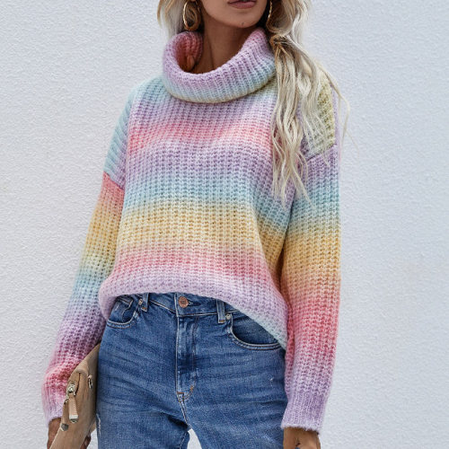 Rainbow Turtleneck Sweaters Women's Pullovers Fashion Tie Dye Colorful Winter Jumper Knitwear Casual Loose Sweet Ladies Outfits