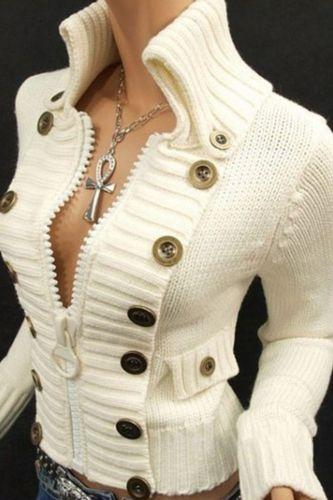 Buttons Top Jumpsers High Collar Zipper Slim Fit Sweater Top Women Solid Color Long Sleeve Cargidan Swearters