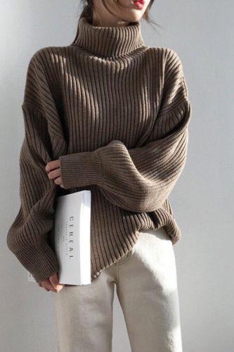 Oversize Knit Winter Women Pullovers Sweaters Turtleneck Lantern Sleeve Solid Basic 2021 Winter Casual Loose Tops W9112