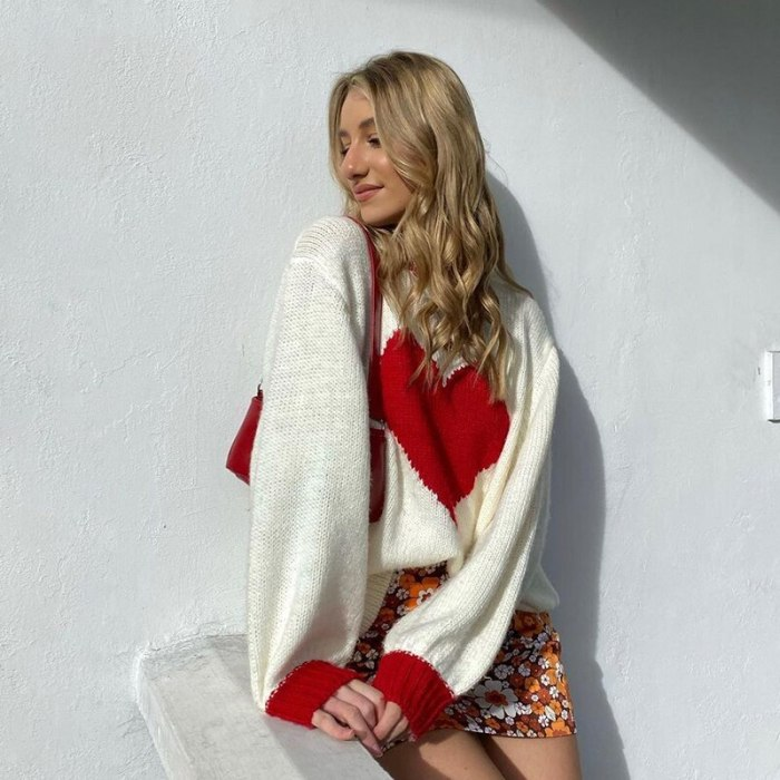 Vintage Heart Patchwork Sweater Loose Aesthetic Cute Knitwear Autumn Fashion Casual Retro Pullovers Streetwear Cuteandpsycho