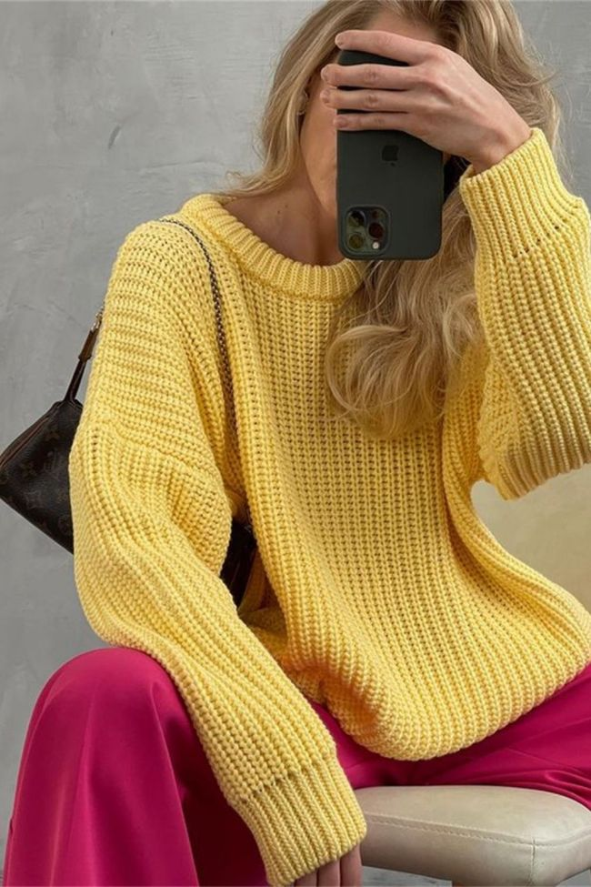 Loose Autumn Sweater Long Sleeve Casual Loose Pullovers Tops O-Neck Solid Colors Elegant Knitted Sweater Thickening Women Jumper