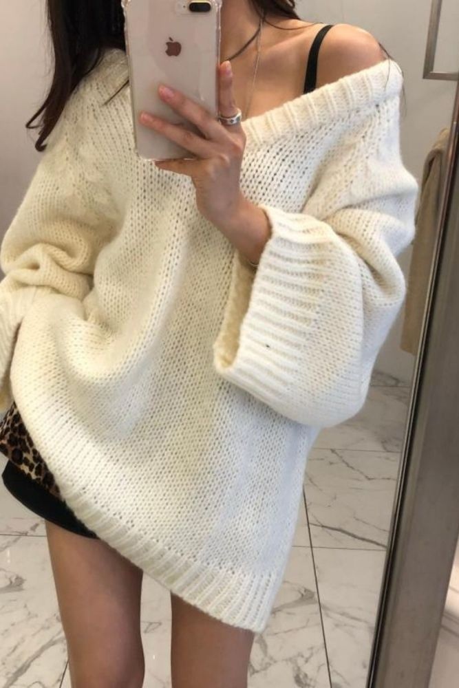 Maxi Female Sweater Women Winter Pullover Knitting Overszie Long Sleeve Girls Tops Loose Sweaters Knitted Outerwear Thick Sexy
