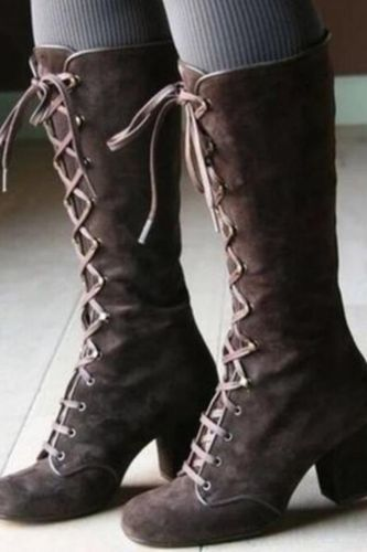 2021 Medieval Women's Casual Riding Boots Winter Lace Up Suede Long Tube Knight Boot Female High Heel Cowboy Shoes Mid-Calf Sexy