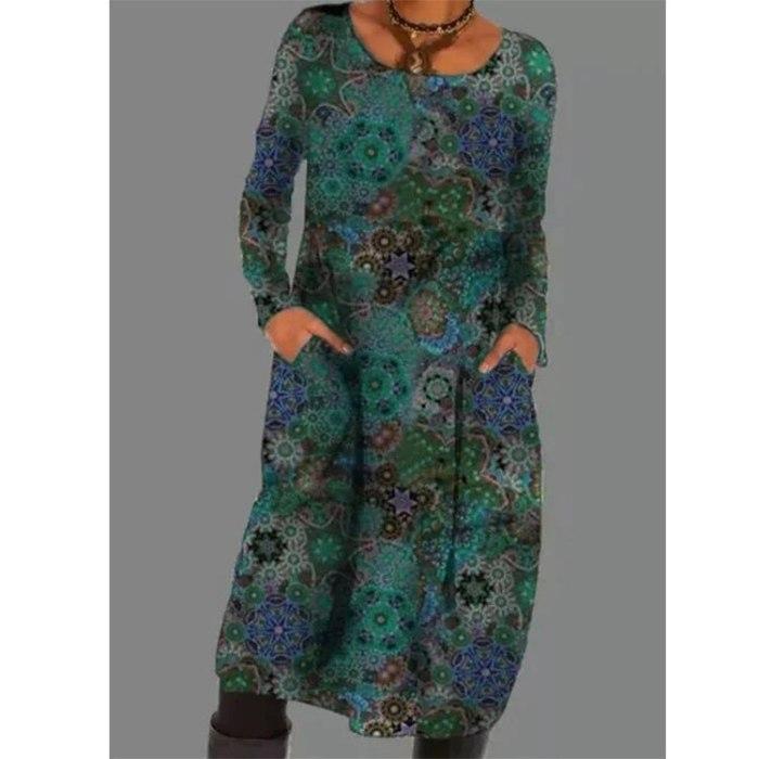 Autumn 2021 Women Dress Loose Streetwear Boho Long Sleeve Ladies Clothing Fashion Print Dress Spring Vintage Dresses Vestidos