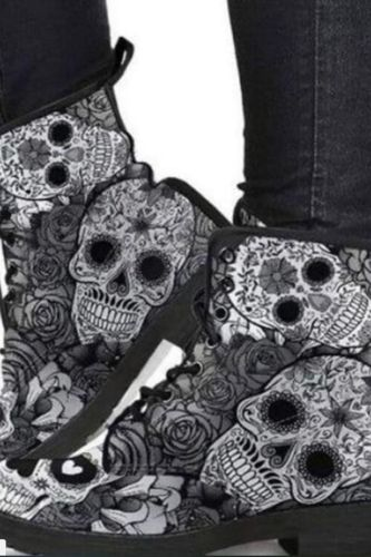 Martin Boots Women's Autumn and Winter 2021 Fashion Women's Tooling Boots Skull and Flower Print High-top Boots Ladies