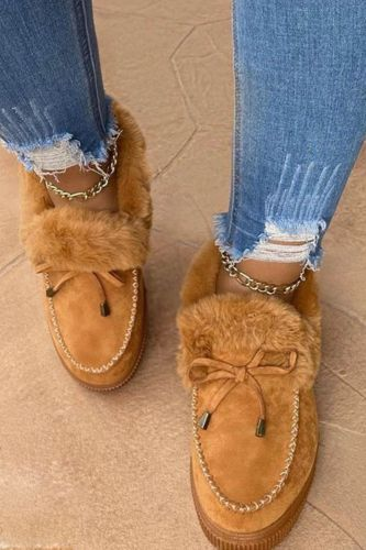 Leather Wool Winter Flat Shoes Woman Warm Snow Boots Ladies Fur Ankle Boots Plus Size Bee Fashion Moccasins Footwear new