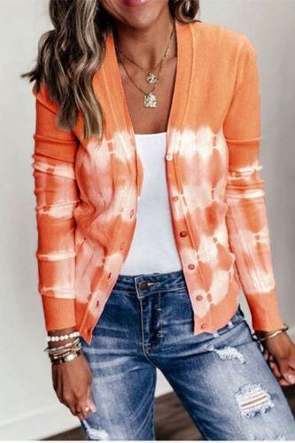 Women Autumn Long Sleeve Jacket Button Tie Dye Open Front Knit Cardigan Coat Women's Clothing