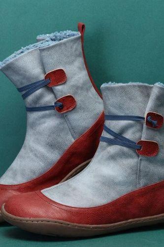 Women Ankle Boots 2021 New Autumn Winter Warm Short Plush Boot Female Retro Mix Color Women's Shoes Ladies Outdoor Flat Big Size