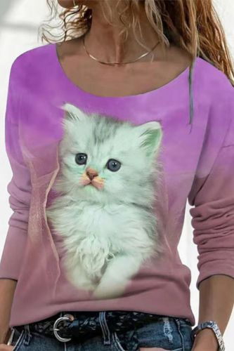 2021 Autumn Long-sleeved Casual Blouse Women Fashion O-neck 3D Cat Printed Pullover Ladies Shirt Vintage Loose Street Top Female