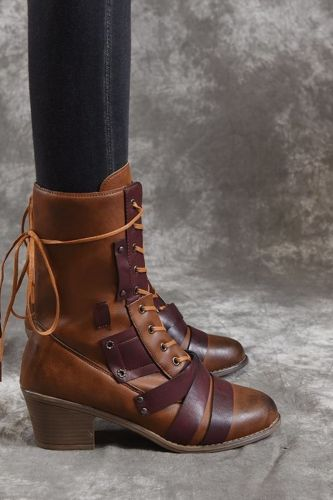 2021 New Women Winter Outdoor Lace-up Ankle Boots Ladies Square Heel PU Boot Plus Size 35-43 Casual Booties Woman Zapatos Mujer