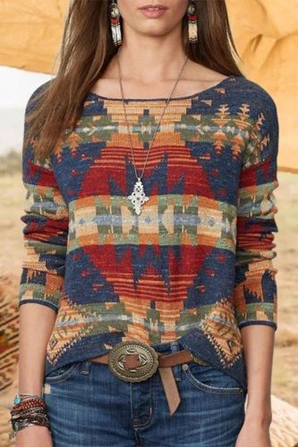 2021 Autumn Ethnic Style Knit Tops Women Aesthetic Graphic Print Long Sleeve Pullover T-shirt Fashion Street Casual Wear 5XL