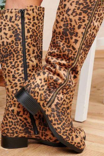 2021 Side Zipper Plus Size High Top Rider Boots Leopard Print Boots