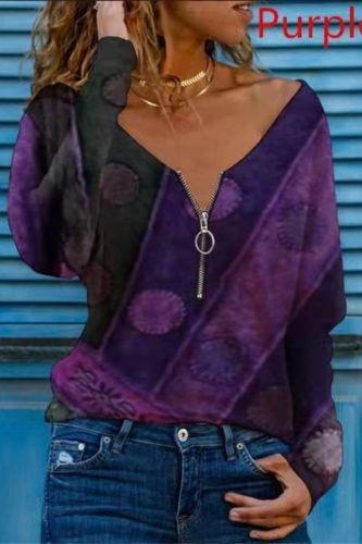 Tee Autumn Women's Vintage Printed Plus Size Long Sleeve Zipper V-neck Top Soft Comfortable Long Sleeve Shirt