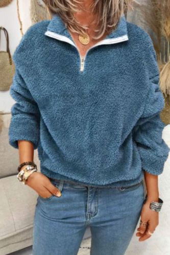 Streetwear Fashion Plus Size Plush Sweater Women Long Sleeve Zipper V-Neck Casual Pullovers Tops Autumn Winter Warm Sweater Coat