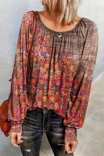 2021 Women's Clothing Autumn O-neck Flower Print Long-sleevedand Winter New Fashion Women's  Casual Loose T-shirt Plus Size 5XL