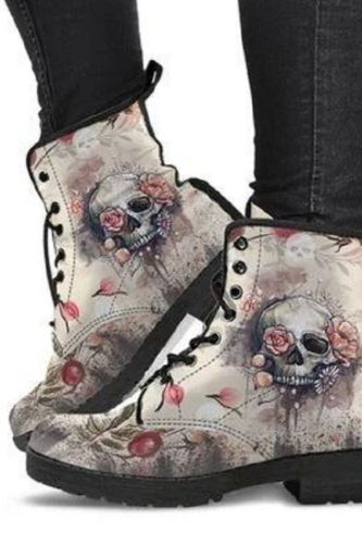 Digital Print Autumn Lady High Top Skull Pattern  Boot 2021 British PU Women's Fashion Work Boots