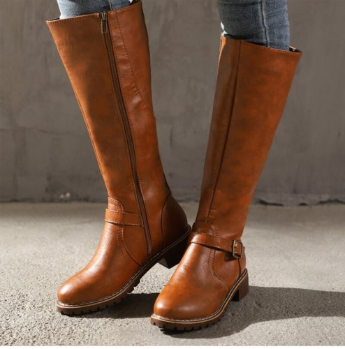Women Mid-calf Boots Fashion Metal Buckle Boots Women's Leather Footwear Woman Zip Shoes Ladies Round Toe Wedges Big Size