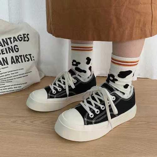 Shoes Woman Big Head Round-Toe Canvas Shoes Women's 2020 New Style Versatile INS Students White Shoes Korean Flat Lolita Shoe
