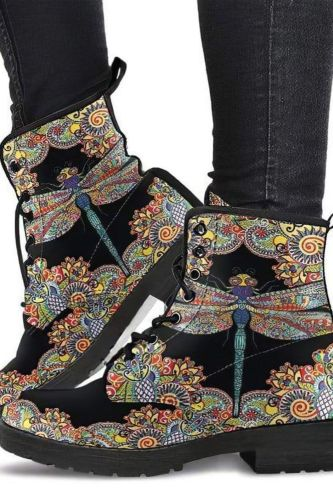 Handmade Shoes, Dragonfly Henna, Handcrafted Boots, Womens Leather Shoes, Vegan Boots, Womens Boots, Fashion Boots, Hippie Boots