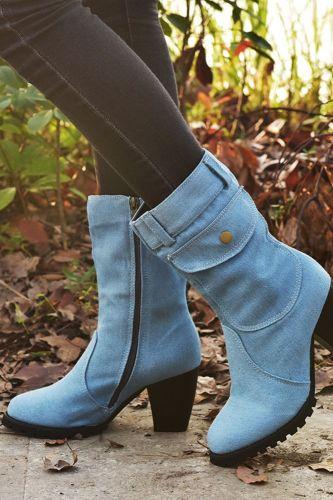 Trend Denim Women Mid-calf Boots Handmade Sewing Packet Fur Lining Platform Square Heel Fashion Retro Shoes Ladies Female 2020