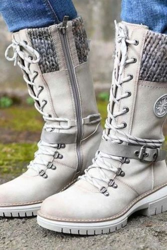 Fashion Brand Winter Mid Calf Boots Women Round Toe Square High Heel Snow Boots Lace Up String Warm Shoes 2021 New