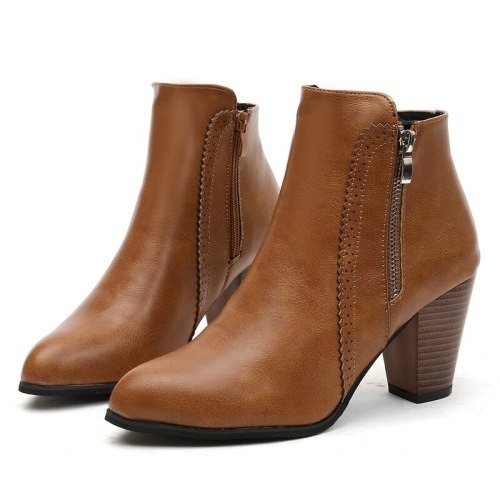 2021 Women Ankle Boots Fashion PU Leather Boots High heel 8cm Ladies Shoes Side Zipper Short Boots for Women Shoes 43