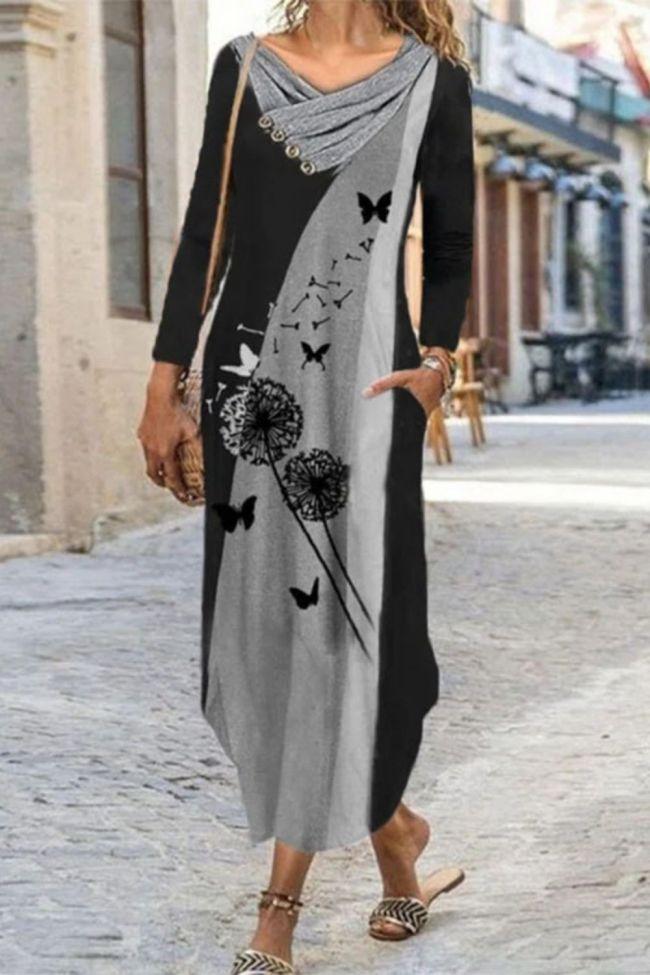 Vintage Elegant Dresses Boho Print Color Block Dresses Stitching Button Fashion Long-sleeved Dress Maxi Dresses for Women Dress