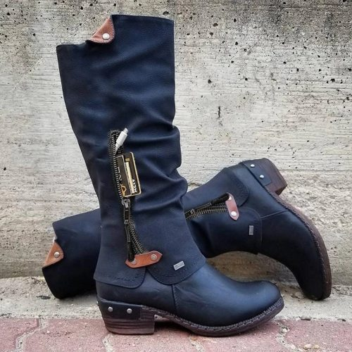 Women Boots Winter Western Punk Boots Winter Warm Shoes Side Zipper Cowboy Boots Ladies Booties