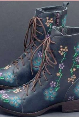 Woman Ankle Boots Embroidery Big Size 43 Flower Boots 2020 Women Autumn Winter Lace Up PU Leather Female Footwear Ladies Shoes