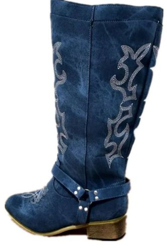 Female Blue Denim Buckle Strap Knee High Boots Cowboy Embrodiery Knight Boots Retro Wooden Chunky Heel Slip On Martin Boots