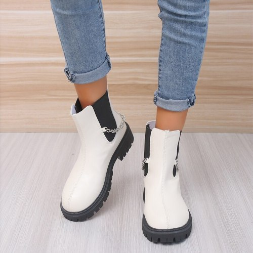 Women's Shoes Autumn/Winter 2021 New Fashion Boots Chain Decoration Thick-soled Casual Chelsea Boots