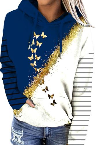 Vintage Casual Women Sweatshirt 2021 Autumn Fashion Splice Butterflies Print Hoodies Long-sleeved Lady Blouse Loose Pullover Top