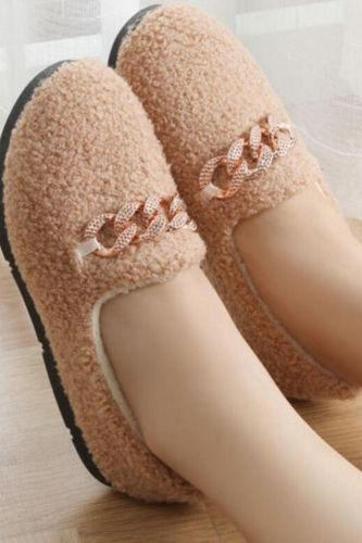Shoes Women Winter Warm Cotton Shoes, Women's Indoor Thick-soled Non-slip Bag with Soft Bottom, Plush Fashion Plus Size Flats
