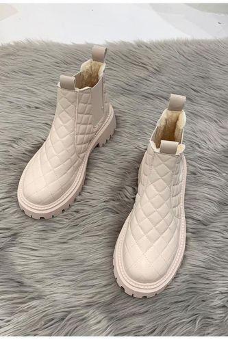 Shoes Woman Martin Boots Non-Slip Snow Boots Women Raise The Bottom Warm with Velvet Short Lattice Luxury Designer Beige Black