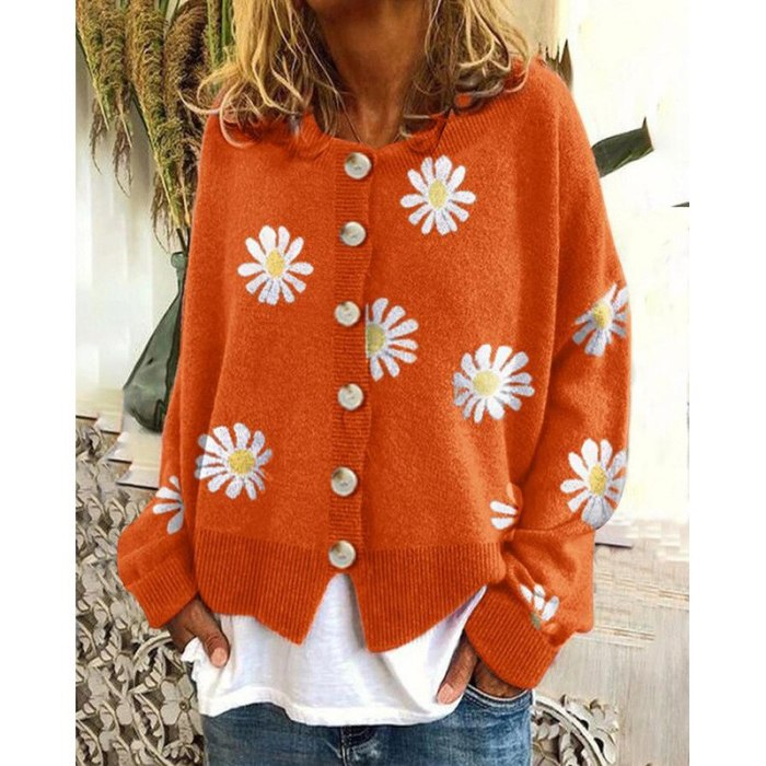 Women's Sweaters Round Neckline Cardigans Daisy Floral Casual Female Pullover Clothing Loose Knitted Winter Streetwear Jacket