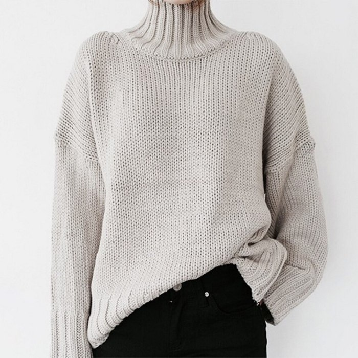 Autumn Winter Women Knitted Turtleneck Sweater 2021 Casual Ribbed Pullover Sweater Jumpers Batwing Long Sleeve Loose Tops Femme