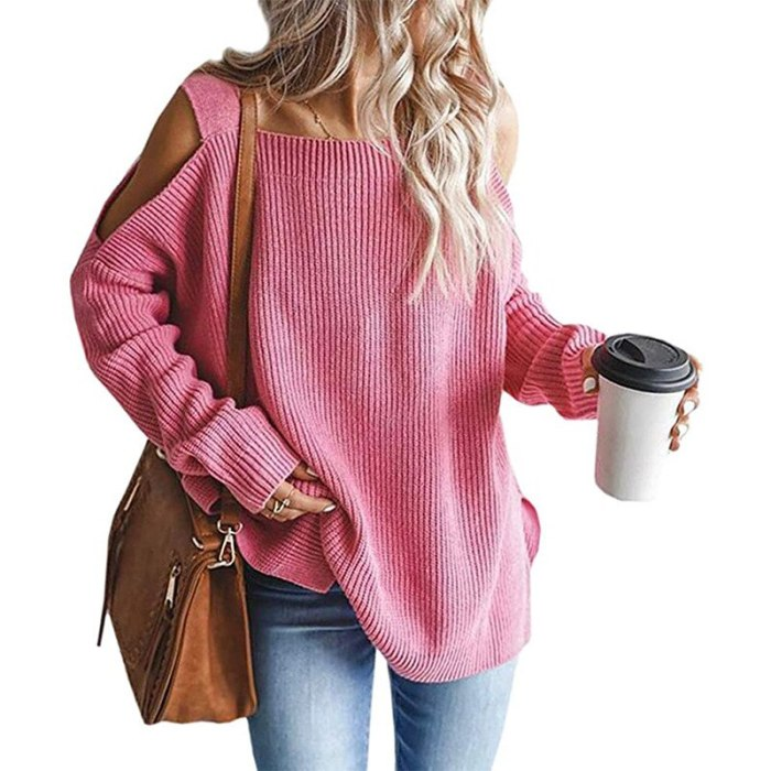 Womens Cold Shoulder Oversized Sweaters Batwing Long Sleeve Chunky Knitted Winter Tunic Tops