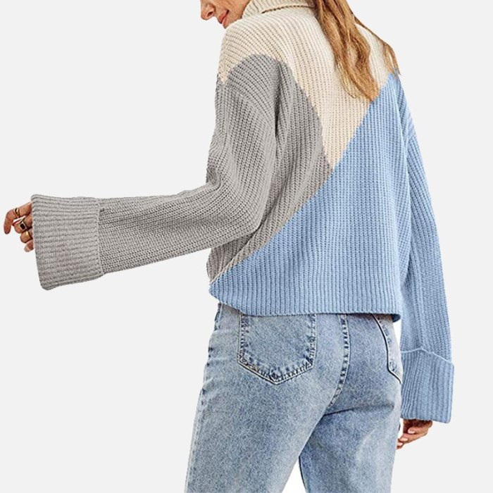 Knitted Ribbed Turtleneck Women's Sweaters Long Sleeve Patchwork Panelled Pullover For Women Autumn Winter Casual Ladies Sweater