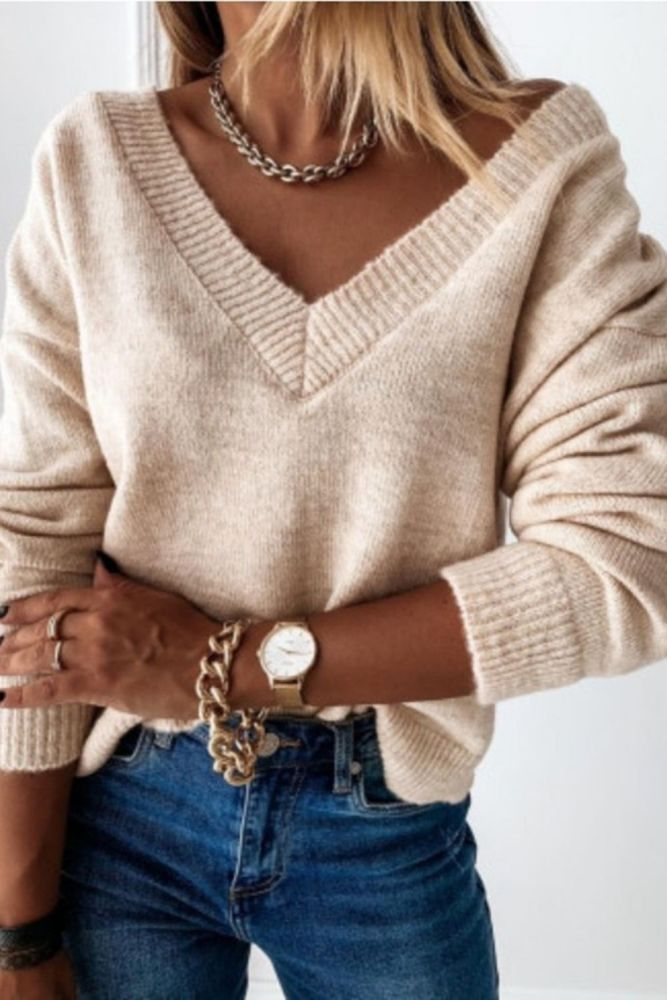 Casual V Neck Loose Knitted Sweater Women Long Sleeve Streetwear Top Jumper 2021 Spring Autumn Loose Patchwork Pullovers