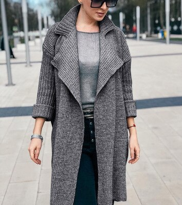 2021 Autumn Winter Casual Loose Fashion Knit Top Lapel Solid Color Warm Long Sleeve Sweater Women Sweaters Jacket