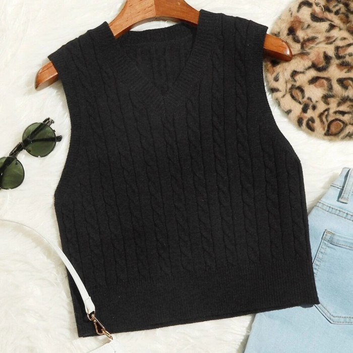 Autumn Ladies V Neck Sweater Vest Women Sleeveless Plaid Knitted Crop Sweaters Casual Female Sweater