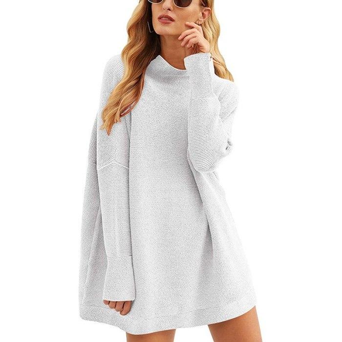 Autumn Winter Fashion Turtleneck Long Sleeve Women Sweatshirt Dress 2020 New 11 Color Loose Ladies Mini Dress Knitwear Pullover