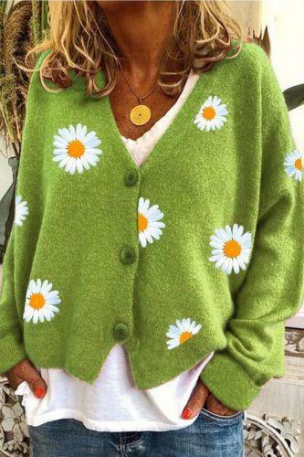 Women Sweater Cardigan Flower Print V Neck Long Sleeve Button Coat Women Knitted Cardigan Female Spring  Autumn Short Top